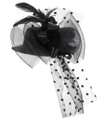 O23765 schwarz Damen Minihut Barockhütchen - 1