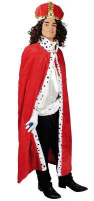 T2875-0500 130 cm lang rot-weiß Damen Herren Königsmantel Prinzen Cape Kostüm Umhang Königsumhang - 1