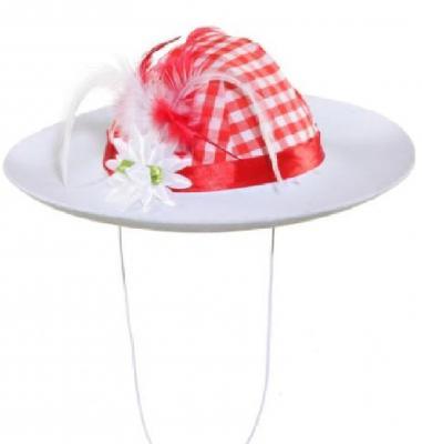 O23328 rot-weiß Damen Trachtenhut Wiesenhut - 1