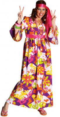 70er 80er Jahre Kleid Kostüm Flowerpower Damen Hippie Hippy