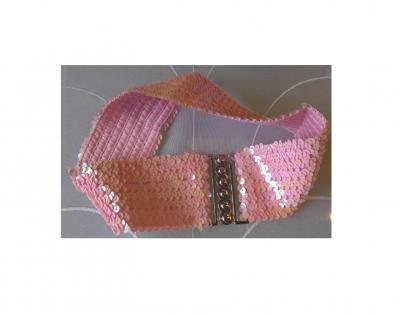 Fu608908-1 rosa Gürtel Paillettengürtel - 1
