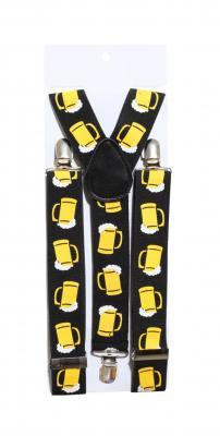 O22600-54 schwarz-gelb Damen Herren Bierkrug Hosenträger Bayern - 1