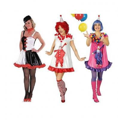 K31250204 bunt Damen Clown Zirkuskleid - 1