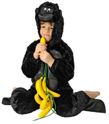 K332540 schwarz Kinder Damen Herren Gorilla Kostüm Affen Overall - 1