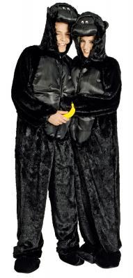K332540 schwarz Kinder Damen Herren Gorilla Kostüm Affen Overall - 3