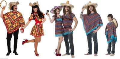 O7623 rot-bunt Damen-Herren Poncho Mexikanerumhang - 1