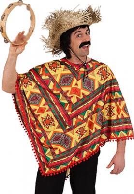 O7623 rot-bunt Damen-Herren Poncho Mexikanerumhang - 2