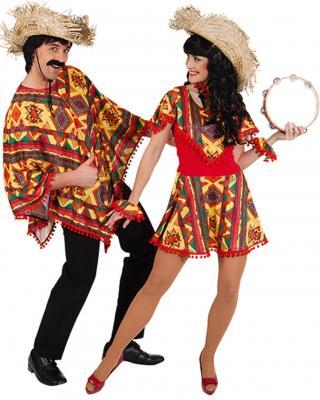 O7623 rot-bunt Damen-Herren Poncho Mexikanerumhang - 4