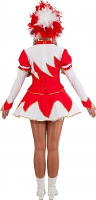 O9755 rot-weiß Damen Funkenkostüm Mariechenkostüm - 1