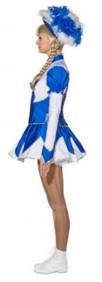 O9889 blau-weiß Damen de Luxe Mariechenkostüm - 3