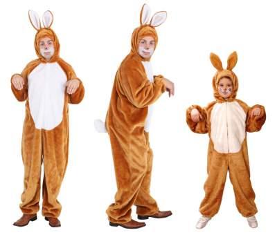 O5066 braun-weiß Kinder Junge Mädchen Hase Hasen Kostüm Overall - 2