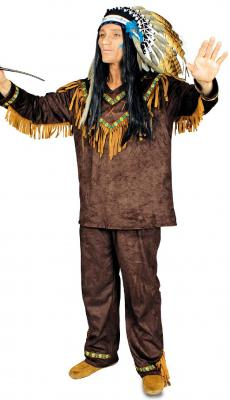 K31250689 braun Herren Indianer Kostüm Häuptling Indianerhäuptling - 1