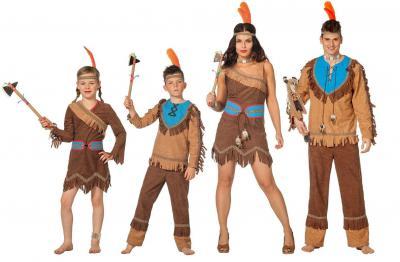 L3102430 braun-türkis Kinder Indianerkleid Squawkleid - 1