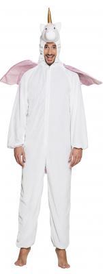 B88060 weiß-rosa Kinder Junge Mädchen Damen Herren Einhorn Overall-Kostüm - 3