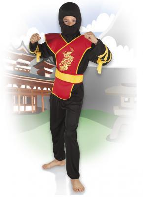 B82193 schwarz-rot-gelb Kinder Junge Ninja Kostüm Schwertkämpfer - 1