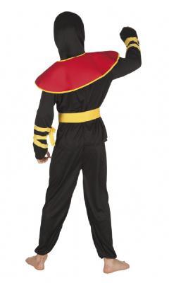 B82193 schwarz-rot-gelb Kinder Junge Ninja Kostüm Schwertkämpfer - 2