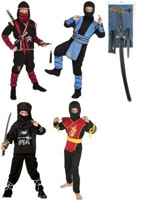B82193 schwarz-rot-gelb Kinder Junge Ninja Kostüm Schwertkämpfer - 3