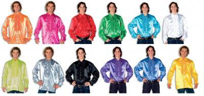 L330033L dunkel-blau Herren Rüschenhemd Discohemd - 1