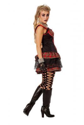 W4807 Damen Punker Kostüm-Kleid Rockerin - 1