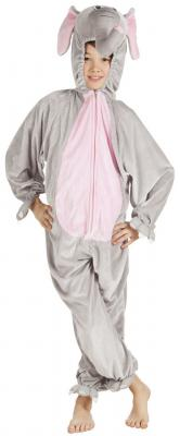 B88030 grau-rosa Kinder Junge Mädchen Damen Herren Elefanten Kostüm - 1