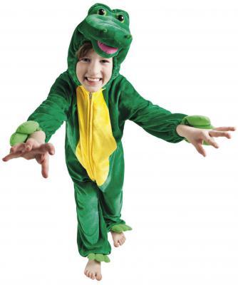 B88048 grün-gelb Kinder Junge Mädchen Damen Herren Krokodil Kostüm - 1