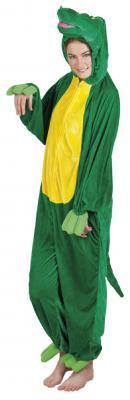 B88048 grün-gelb Kinder Junge Mädchen Damen Herren Krokodil Kostüm - 2