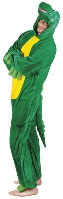 B88048 grün-gelb Kinder Junge Mädchen Damen Herren Krokodil Kostüm - 3