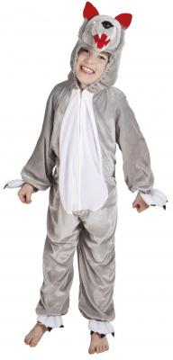 B88038 grau-weiß Kinder Junge Mädchen Damen Herren Wolf Overall Kostüm - 1