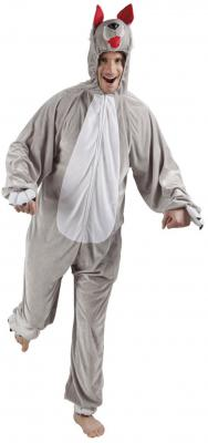 B88038 grau-weiß Kinder Junge Mädchen Damen Herren Wolf Overall Kostüm - 2
