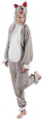 B88038 grau-weiß Kinder Junge Mädchen Damen Herren Wolf Overall Kostüm - 3