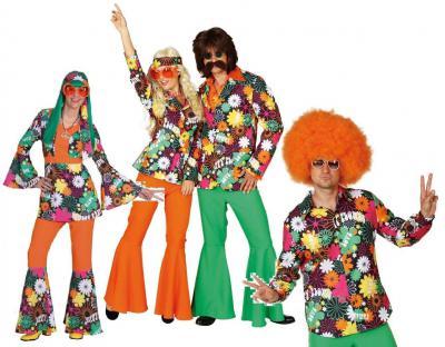 O9681 Hippie Kostüm Anzug Flowerpowerkostüm Partykostüm - 1