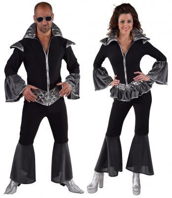 M216146 schwarz-silber Damen Disco Anzug Dancing Queen - 1