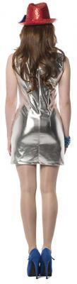 L3200321 silber Damen Stretch Kleid Discokleid - 1