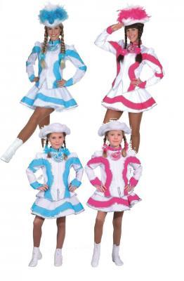 O5195 pink-weiß Kinder Funkemariechen-Tanzmariechen Kostüm-Uniform - 1