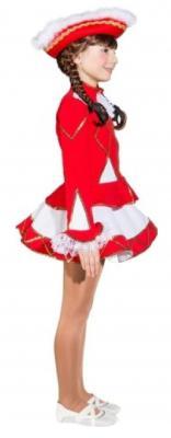 O665 Funkenkostüm Kinder-Mädchen rot-weiß mit Goldborte - 3
