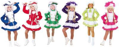 O665 Funkenkostüm Kinder-Mädchen rot-weiß mit Goldborte - 4