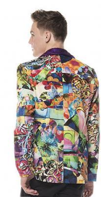 L3302074 Herren Jacket lila-bunt Discojacke Hippiejacke - 1