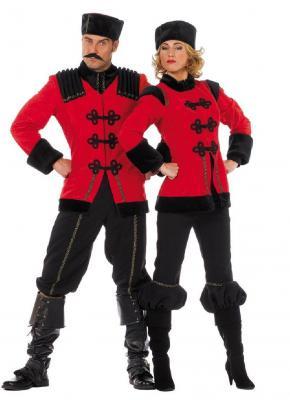 W5777 schwarz-rot Herren Kosakenkostüm Kosakenuniform - 1