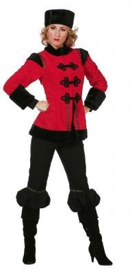W5777 schwarz-rot Herren Kosakenkostüm Kosakenuniform - 2