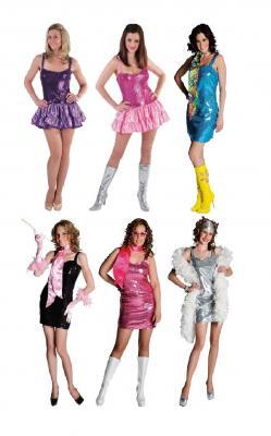 M211104-4 pink Damen Pailletten Kleid Discokleid - 1