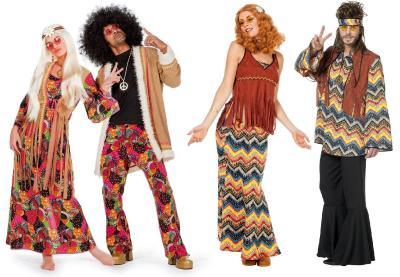 W5456 beige-bunt Herren Hippie Kostüm Partykostüm - 1