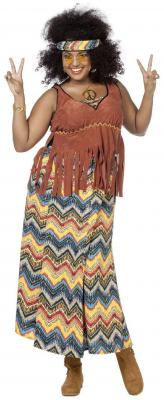 W4235 bunt Damen Hippie Kleid Partykostüm - 2