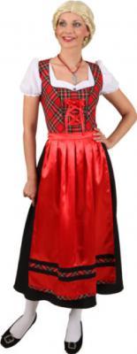O9693 rot-kariert-schwarz Damen Trachten Kleid Dirndl - 1