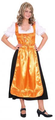 O9351 orang-schwarz Damen Trachten Kleid Dirndl lang - 1
