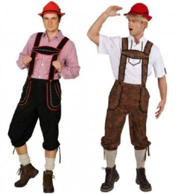 O7084 schwarz-rot Herren Kniebundhose Tiroler lang - 1