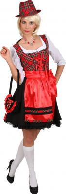 O9700 rot-schwarz Damen Dirndl Trachtenkleid - 1