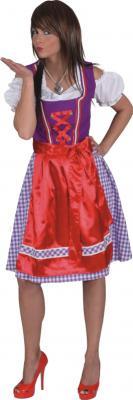 O9638 lila-rot Damen Trachtenkleid Bayerndirndl - 1