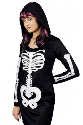 K31250284 schwarz-weiß Damen Skelettkleid Zombiekleid - 1