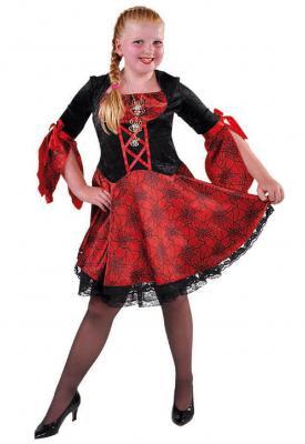 M215033 schwarz-rot Kinder Vampirkleid Hexenkleid - 1