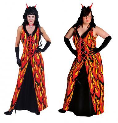 M210130 rot-gelb-schwarz Damen Flammenkleid Teufelkleid - 1
